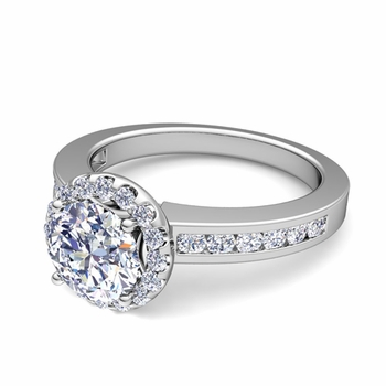 Halo Diamond Engagement Ring in Platinum Channel Set Ring