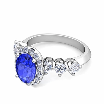 Crown Set Diamond and Ceylon Sapphire Engagement Ring in Platinum, 7x5mm