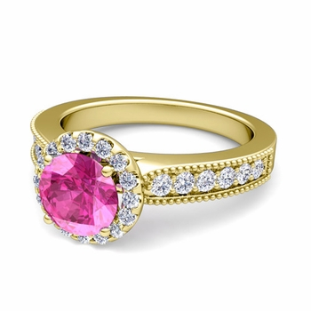 Milgrain Diamond and Pink Sapphire Halo Engagement Ring in 18k Gold, 7mm