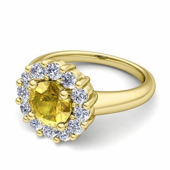 Yellow Sapphire and Halo Diamond Engagement Ring in 18k Gold, 7mm