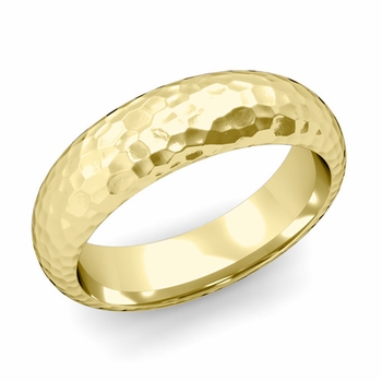 Dome Comfort Fit Wedding Band in 18k White or Yellow Gold, Hammered Finish, 6mm