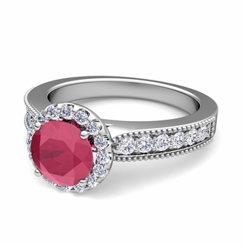 Milgrain Diamond and Ruby Halo Engagement Ring in Platinum, 6mm