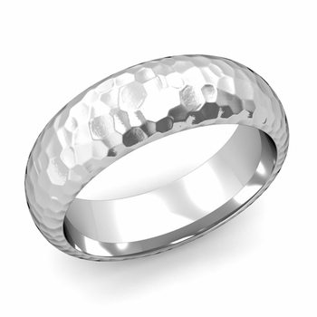 Dome Comfort Fit Wedding Band in 14k White or Yellow Gold, Hammered Finish, 7mm