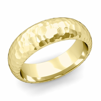 Dome Comfort Fit Wedding Band in 18k White or Yellow Gold, Hammered Finish, 7mm