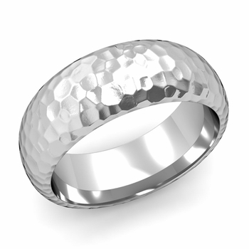Dome Comfort Fit Wedding Band in 14k White or Yellow Gold, Hammered Finish, 8mm