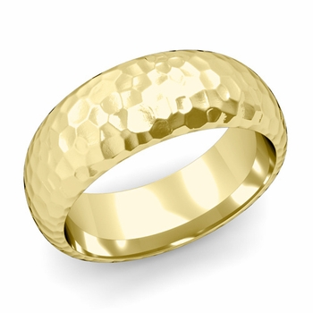 Dome Comfort Fit Wedding Band in 18k White or Yellow Gold, Hammered Finish, 8mm
