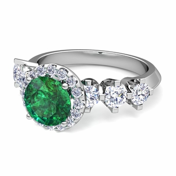 Crown Set Diamond and Emerald Engagement Ring in Platinum, 7mm