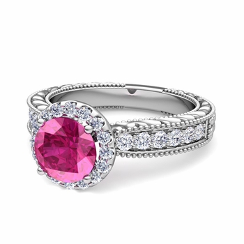 Vintage Inspired Diamond and Pink Sapphire Engagement Ring in 14k Gold, 7mm