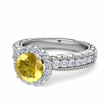 Vintage Inspired Diamond and Yellow Sapphire Engagement Ring in Platinum, 7mm