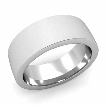 Flat Comfort Fit Wedding Band in 14k White or Yellow Gold, Satin Finish, 8mm