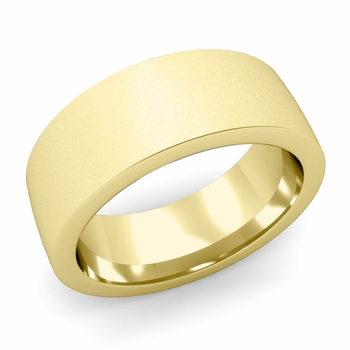 Flat Comfort Fit Wedding Band in 18k White or Yellow Gold, Satin Finish, 8mm