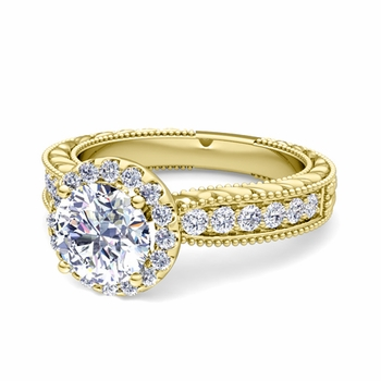 Vintage Inspired GIA Diamond Engagement Ring in 18k Gold