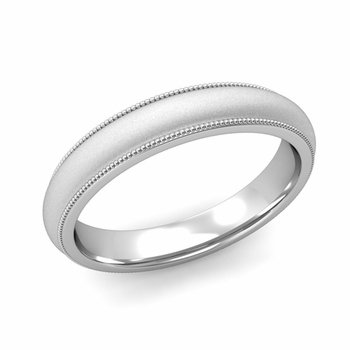 Comfort Fit Milgrain Wedding Band in 14k White or Yellow Gold, Satin Finish, 4mm