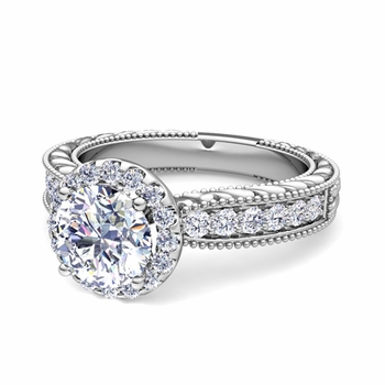 Vintage Inspired GIA Diamond Engagement Ring in Platinum