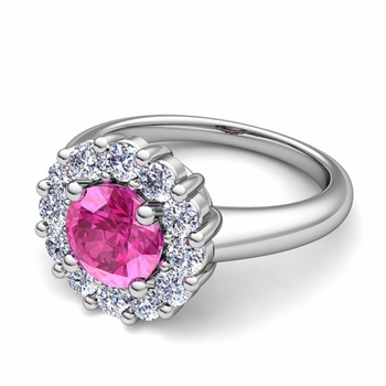 Pink Sapphire and Halo Diamond Engagement Ring in Platinum, 7mm