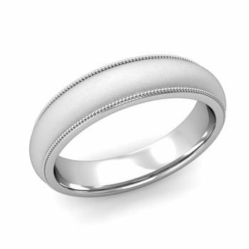 Comfort Fit Milgrain Wedding Band in 14k White or Yellow Gold, Satin Finish, 5mm