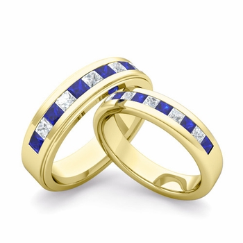 Matching Wedding Band in 18k Gold Princess Cut Diamond and Sapphire Ring