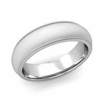 Comfort Fit Milgrain Wedding Band in 14k White or Yellow Gold, Satin Finish, 6mm