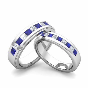 Matching Wedding Band in Platinum Princess Cut Diamond and Sapphire Ring