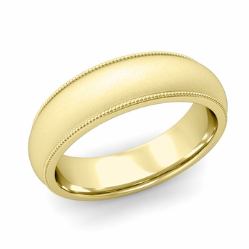 Comfort Fit Milgrain Wedding Band in 18k White or Yellow Gold, Satin Finish, 6mm