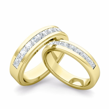 Matching Wedding Band in 18k Gold Princess Cut Diamond Ring
