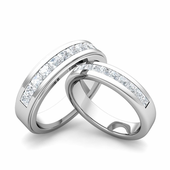 Matching Wedding Band in Platinum Princess Cut Diamond Ring