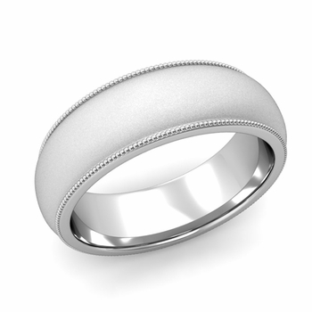 Comfort Fit Milgrain Wedding Band in Platinum, Satin Finish, 7mm