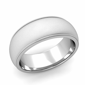 Comfort Fit Milgrain Wedding Band in Platinum, Satin Finish, 8mm