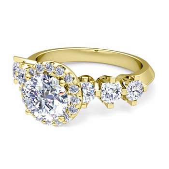 Crown Set GIA Diamond Engagement Ring in 18k Gold