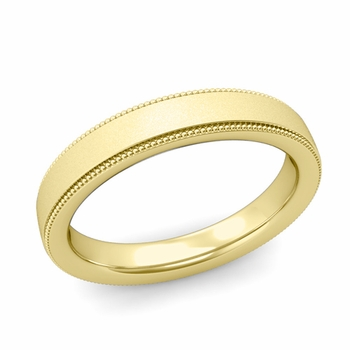 Milgrain Flat Wedding Ring in 18k Gold Comfort Fit Band, Satin Finish, 4mm