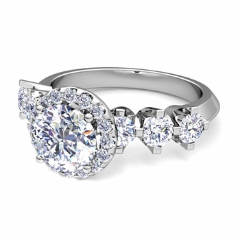 Crown Set GIA Diamond Engagement Ring in Platinum