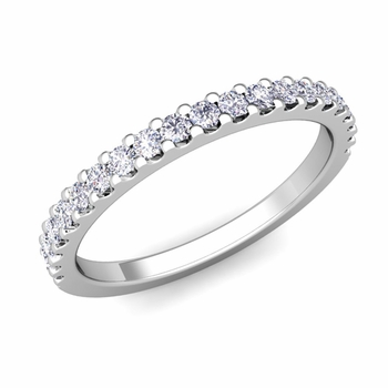 Petite Pave Diamond Wedding Ring Band in 14k gold, 0.32 cttw