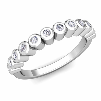 Bezel Set Diamond Wedding Ring Band in 14k Gold, 0.20 cttw