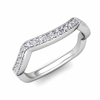 Unique Curved Diamond Wedding Ring Band in 14k Gold