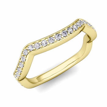Unique Curved Diamond Wedding Ring Band in 18k Gold