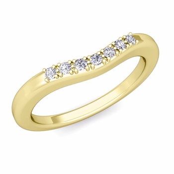 Curved Micro pave Diamond Wedding Band Ring in 18k Gold
