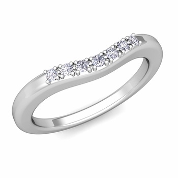 Curved Micro pave Diamond Wedding Band Ring in Platinum