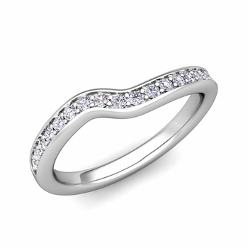Petite Curved Diamond Wedding Band Ring in 14k Gold