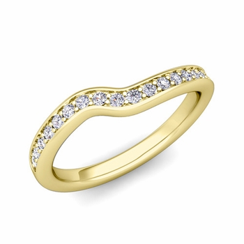 Petite Curved Diamond Wedding Band Ring in 18k Gold