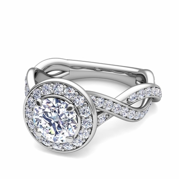 Infinity GIA Diamond Halo Engagement Ring in 14k Gold