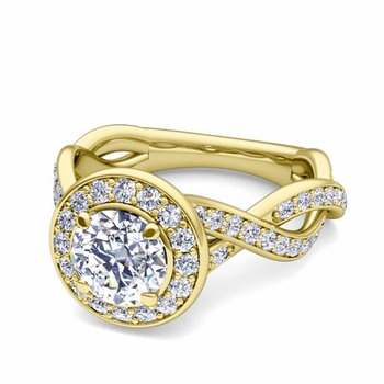 Infinity GIA Diamond Halo Engagement Ring in 18k Gold