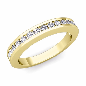Channel Set Diamond Wedding Ring Band in 18k Gold, 0.25 cttw