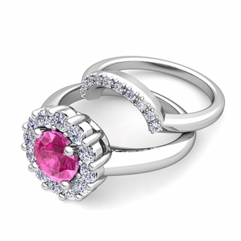 Pink Sapphire and Halo Diamond Engagement Ring Bridal Set in 14k Gold, 7mm