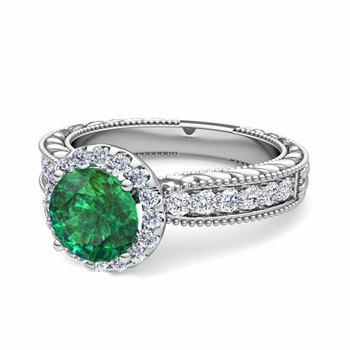 Vintage Inspired Diamond and Emerald Engagement Ring in Platinum, 7mm