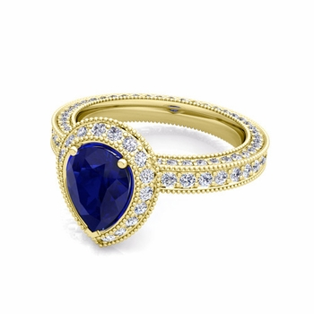Milgrain Pear Shaped Sapphire and Diamond Engagement Ring in 18k Gold, 8x6mm