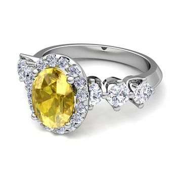 Crown Set Diamond and Yellow Sapphire Engagement Ring in Platinum, 9x7mm