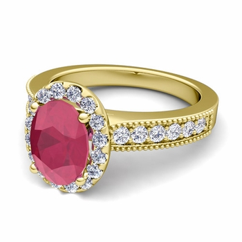 Milgrain Diamond and Ruby Halo Engagement Ring in 18k Gold, 7x5mm