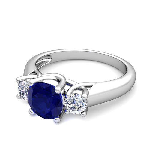 Trellis Diamond And Blue Sapphire Three Stone Ring In 14k