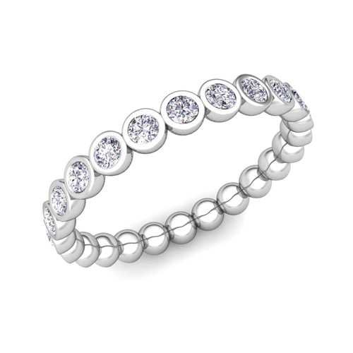 in set edge weighs a bezel style diamond line wedding chic band half the platinum each eternity bands of carats setting ring graceful pin polished embraces oval