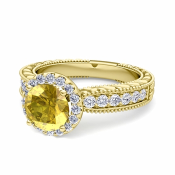 Vintage Inspired Diamond and Yellow Sapphire Engagement Ring in 18k Gold, 6mm